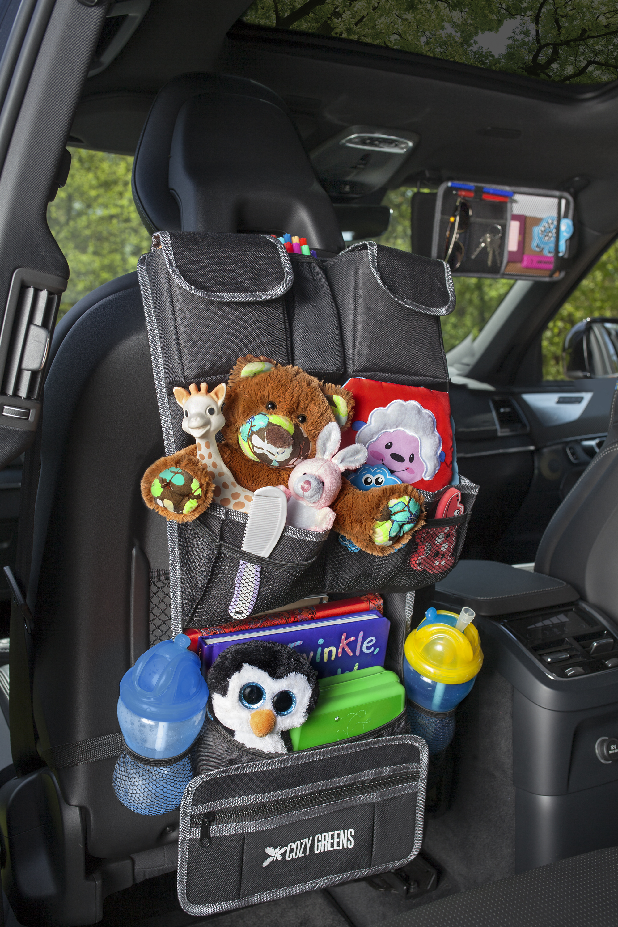 Back seat organizer gray cozygreens car organizer for back seat eco friendly strong kick mat protects backseat free visor organizer storage for toys travel accessories solutioingenieria Gallery